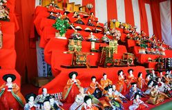 Japanese Hina Dolls. Japanese HinamatsuriDoll's Festival is an occasion to pray for young girls' growth and happiness Stock Photos