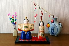 Japanese Hina Dolls. Japanese HinamatsuriDoll's Festival is an occasion to pray for young girls' growth and happiness stock images