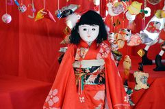Japanese Hina Dolls. Japanese HinamatsuriDoll's Festival is an occasion to pray for young girls' growth and happiness Sagemon is a custom that is royalty free stock photo