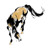 Japanese horse. The horse of the Japanese traditional painting Stock Images