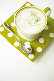 Japanese hot green tea. In white cup stock image