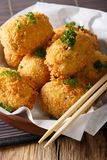 Japanese hot potato korokke or croquettes in breadcrumbs closeup Royalty Free Stock Image