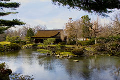 Japanese House. A lovely Japanese house and garden royalty free stock image