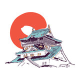 Japanese house drawing Stock Photos
