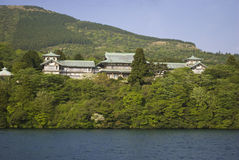 Japanese House and garden. A Japanese garden lake and house at Hakone in Japan Royalty Free Stock Photo