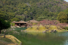 Japanese house and garden pond Royalty Free Stock Photography