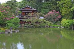 Japanese house and its garden Royalty Free Stock Photo