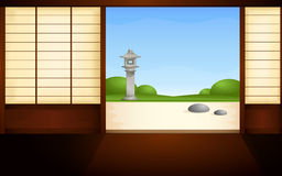 Japanese house with open sliding doors Royalty Free Stock Photography