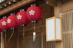 Japanese house and oriental lantern Royalty Free Stock Image
