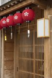 Japanese house and oriental lantern. Details of traditional Japanese house and oriental lantern Stock Photos