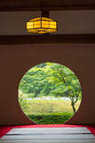Japanese house with round window Royalty Free Stock Photography