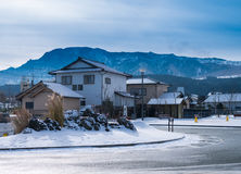 Japanese house with snow in ASO city Royalty Free Stock Photography