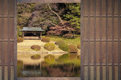 Japanese house window with Japanese garden Stock Photography