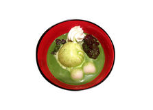 Japanese ice cream with shiratama mochi and red bean paste Stock Images