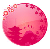 Japanese icon. Glossy icon with Japanese view and space for text Royalty Free Stock Photo