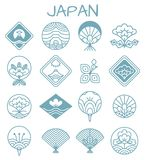 Japanese Icons with Unusual Floristic Patterns. In shape of rhombus or traditional fan in blue color isolated cartoon flat vector illustrations set Stock Photos