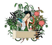 Japanese illustration with geisha Royalty Free Stock Image