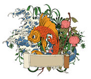 Japanese illustration with koi fish Royalty Free Stock Photos