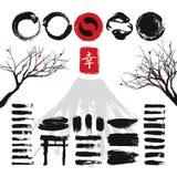 Japanese ink grunge art brushes and asian design elements vector set royalty free illustration
