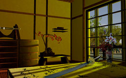 Japanese interior. Scene of a Japanese interior Royalty Free Stock Photos