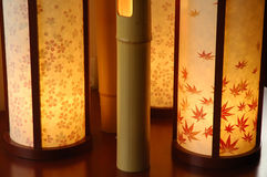 Japanese Interior Lamp. Made of bamboo and handmade paper Royalty Free Stock Photo