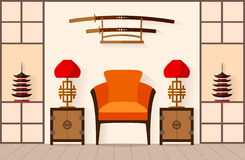 Japanese Interior. Vector illustration. Royalty Free Stock Photography