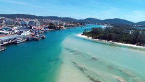 Japanese Island, Cabo Frio, Brazil: Aerial view of a fantastic beach with crystal water. stock video footage