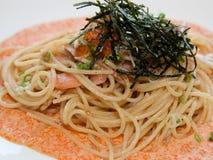 Japanese-italian fusion food. Italian fusion food spaghetti cream sauce Stock Image