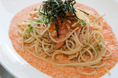 Japanese-italian fusion food. Italian fusion food spaghetti cream sauce Stock Photos