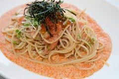 Japanese-italian fusion food. Italian fusion food spaghetti cream sauce Stock Photography