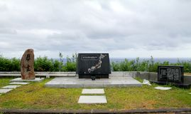 Japanese Iwo Jima Memorials. Memorial in the center is from Japanese prefectures. The memorial on the right is for the Japanese air squadrons that fought, and Royalty Free Stock Photography