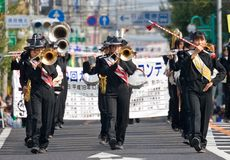 Japanese Japanese marching band performs in parade Royalty Free Stock Image