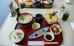 Japanese Kaisen Meal, tempura, noodle, rice, and pickles. Royalty Free Stock Photo