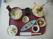 Japanese Kaisen Meal, tempura, noodle, rice, and pickles. Royalty Free Stock Image