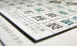 Japanese Kanji. Detail of the list of everyday 2000 use Japanese kanji Royalty Free Stock Images