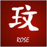 Japanese Kanji - Rose. Brush Hand drawing Japanese kanji with deep meanings Stock Image