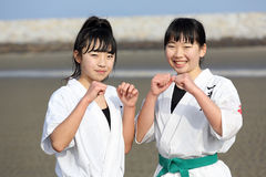 Japanese karate girls at the beach Stock Photo