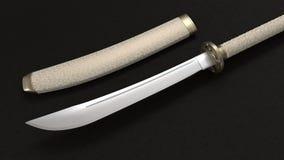 Japanese Katana Sword 3d. White Japanese Katana Sword 3d on a black background royalty free illustration