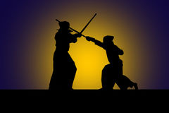 Japanese kendo fighters with bamboo swords, high contrast stock images