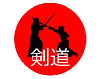 Japanese kendo fighters with bamboo swords on Japan flag with si. Gn Stock Image