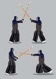 Japanese Kendo Martial Arts Attack and Defense. Two set of vector illustration of two characters wearing black protective outfit and masks and fighting  with Royalty Free Stock Photography