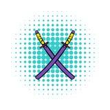Japanese kendo sword icon, comics style Royalty Free Stock Photos