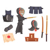 Japanese kendo sword martial arts fighter, armor and equipment. Modern Japanese martial art. Cartoon detailed colorful. Illustrations  on white background Royalty Free Stock Photos