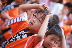 Japanese kids traditional dance Royalty Free Stock Photos