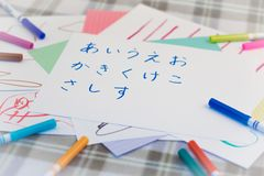 Japanese; Kids Writing Japanese Alphabet Character for Practice.  royalty free stock photography