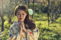 Japanese kimono beautiful woman Royalty Free Stock Image