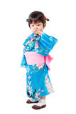Japanese kimono cute girl on white background Stock Photography