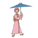 Japanese in Kimono holding umbrella Royalty Free Stock Image