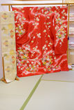 Japanese Kimono and Obi in a store Stock Image
