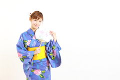 Japanese kimono with paper Fan Royalty Free Stock Photography